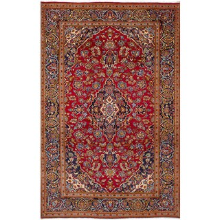 eCarpetGallery Kashan Red Wool Hand-knotted Rug (6'7 x 10'8)