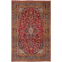 eCarpetGallery Kashan Red Wool Hand-knotted Rug - 6'7 x 10'8