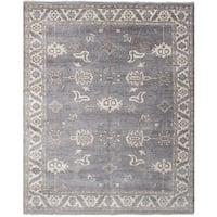 eCarpetGallery Hand-knotted Jules Ushak Grey Bamboo Silk Rug (8'0 x 10'0)