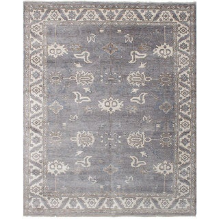 eCarpetGallery Hand-knotted Jules Ushak Grey Bamboo Silk Rug - 8'0 x 10'0