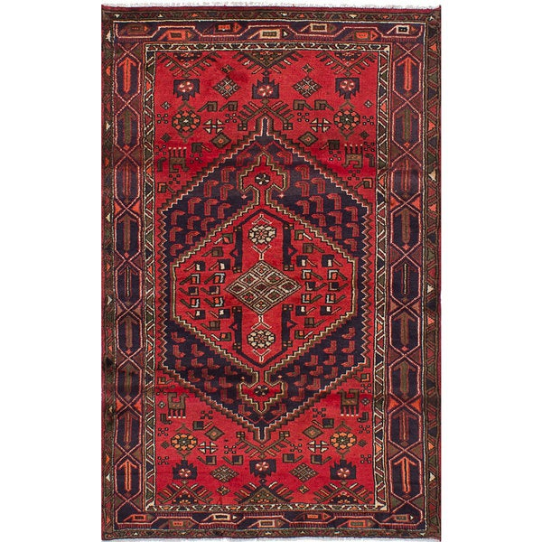 eCarpetGallery Hamadan Red Wool Hand-knotted Rug - 4' x 6'6