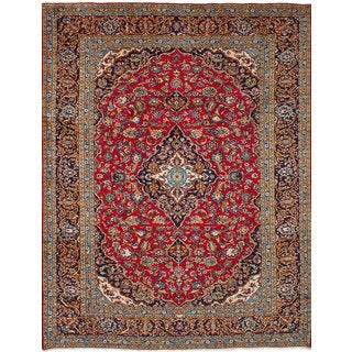 eCarpetGallery Kashan Red Wool Hand-knotted Rug (8'3 x 10'10)