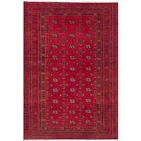 eCarpetGallery Hand-knotted Turkoman Red Wool Rug - 4'2 x 6'7