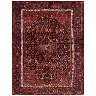 eCarpetGallery Nahavand Blue/Red Wool Hand-knotted Rug (4'8 x 6'8)
