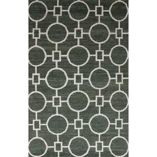 eCarpetGallery Hand-knotted La Seda Green Wool, Art Silk Rug (5' x 8')