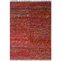 eCarpetGallery Red Sari Silk Hand-knotted Rug - 5'2 x 7'6