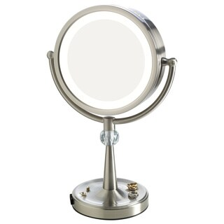 Elizabeth Arden 1x/10X Magnification LED-Lighted Tall Makeup Vanity Mirror w/ Recessed Jewelry Tray