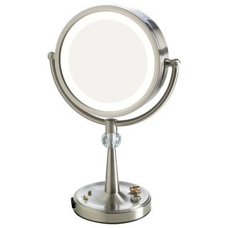 Elizabeth Arden 1x/10X Magnification Lighted Tall Makeup Vanity Mirror with Recessed Jewelry Tray