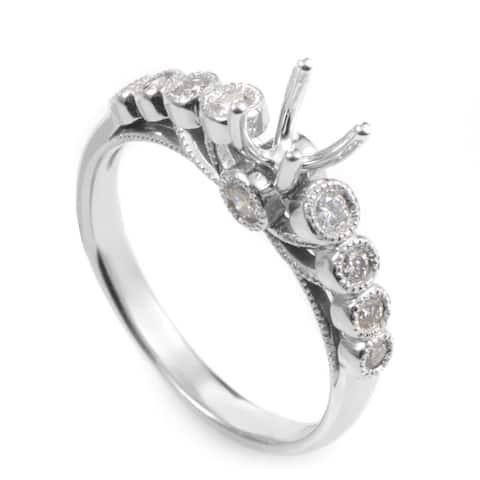 14K White Gold Diamond Mounting Ring SM4-03631W