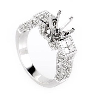 Avant Garde 18K White Gold Diamond Engagement Ring Mounting