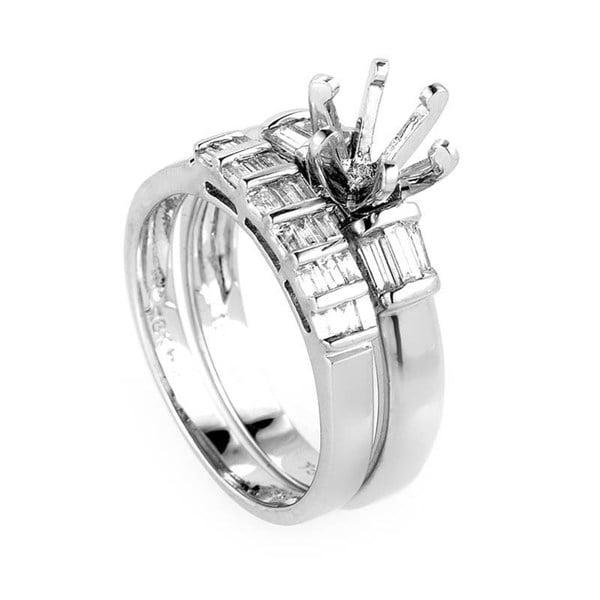 Glamorous 18K White Gold Mounting Bridal Set 119005A