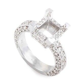 Extraordinary 18K White Gold Diamond Pave Square Mounting Ring LBD-067822