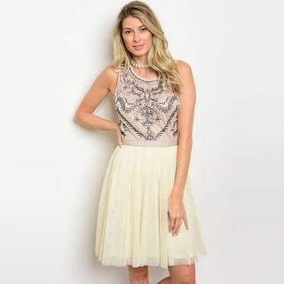 Shop The Trends Women's Sleeveless Baby Doll Dress With Embroidered Front Design And Round Neckline