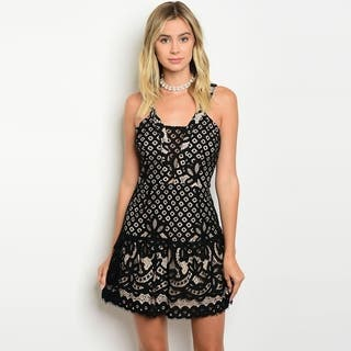 Shop The Trends Women's Sleeveless Lace Mini Dress With Square Neckline And Full Lining|https://ak1.ostkcdn.com/images/products/16565176/P22897242.jpg?impolicy=medium