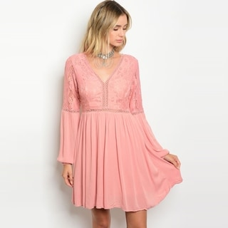 Shop The Trends Women's Long Sleeve Lace Shift Dress With V-Neckline And Open Back