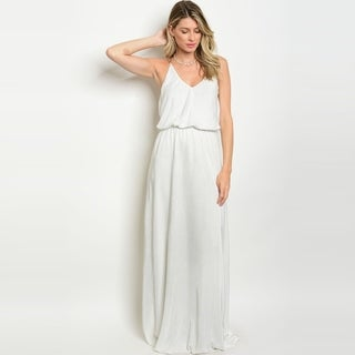 Shop The Trends Women's Sleeveless Lightweight Maxi Dress With Scoop Neckline And Criss-Cross Chain Straps On Back