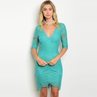 Shop The Trends Women's 3/4 Sleeve Crochet Lace Midi Dress With V-Neckline And Scalloped Hem