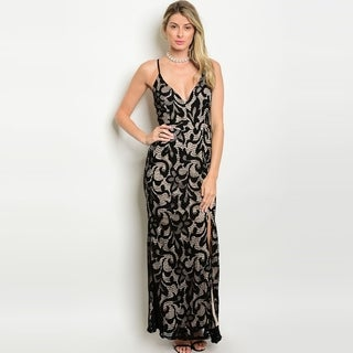 Shop The Trends Women's Spaghetti Strap Lace Gown With Lace-Up Back And V-Neckline