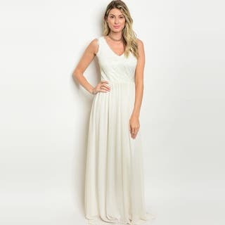 Shop The Trends Women's Sleeveless Chiffon Gown With Lace Top And V-Neckline https://ak1.ostkcdn.com/images/products/16565186/P22897251.jpg?impolicy=medium