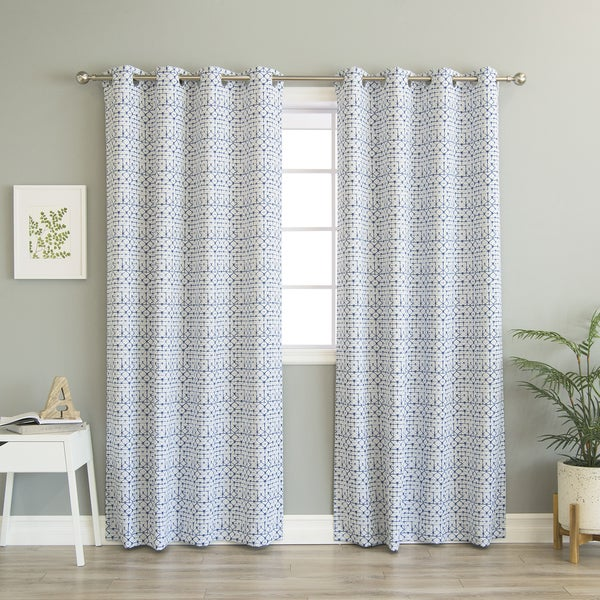 aurora home diamond shibori print blue room darkening curtain panel pair - Room Darkening Curtains