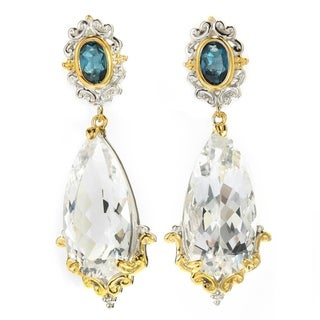 Michael Valitutti Palladium Silver Arkansas White Quartz & London Blue Topaz Drop Earrings