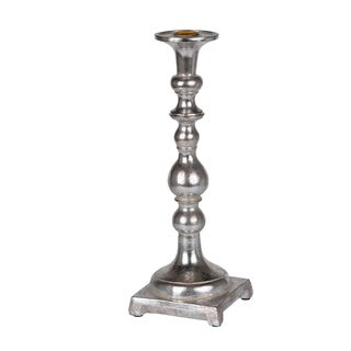 """D4x12"""" Danbury Candle Holder Silver"""