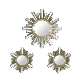 Art Deco Skyline Gold Sunburst Decorative Framed Wall Mirrors (Set of 3)