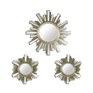 Art Deco Skyline Gold Sunburst Decorative Framed Wall Mirrors (Set of 3)