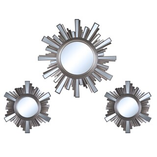 DISCONTINUED - 3 Piece Art Deco Sunburst Wall Mirrors Set
