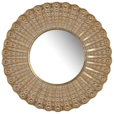 A&B Home Aubrey Antiqued Goldtone 19-inch Round Mirror - Gold