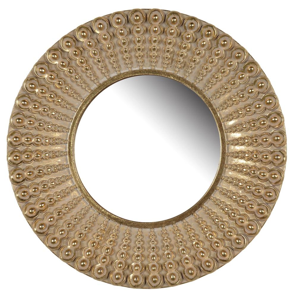 D14 Aubrey Resin Golden Antique Finish Round Mirror - Gold - A/N