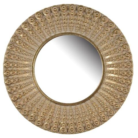 A&B Home D14 Aubrey Resin Golden Antique Finish Round Mirror - Gold