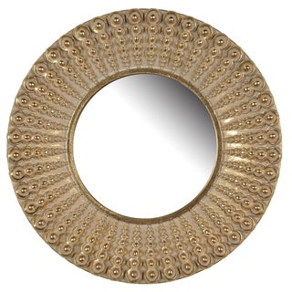 D14 Aubrey Resin Golden Antique Finish Round Mirror