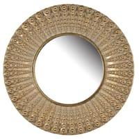 D14 Aubrey Resin Golden Antique Finish Round Mirror