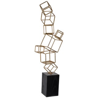 Maxime Black and Gold Metal and Wood Cube Table Sculpture