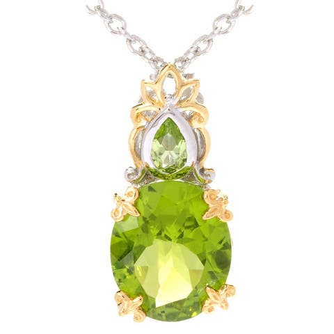 Michael Valitutti Palladium Silver Oval & Pear Shaped Peridot Pendant