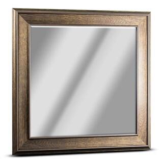 American Art Decor Everett Medium Square Dark Brown Wood Grain Framed Beveled Wall Vanity Mirror - A/N