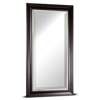 Leighton Large Rectangular Distressed Espresso Off White Accent Framed Beveled Wall/ Vanity Mirror