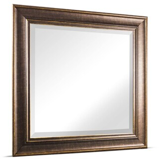 American Art Decor Bentley Medium Square Oil Rubbed Bronze Framed Beveled Wall Vanity Mirror - Brown - A/N
