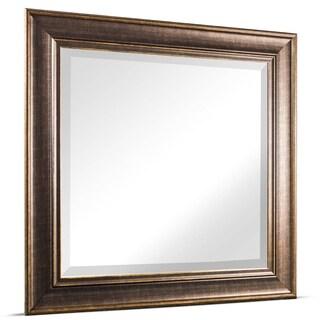 Bentley Medium Square Oil Rubbed Bronze Framed Beveled Wall Vanity Mirror