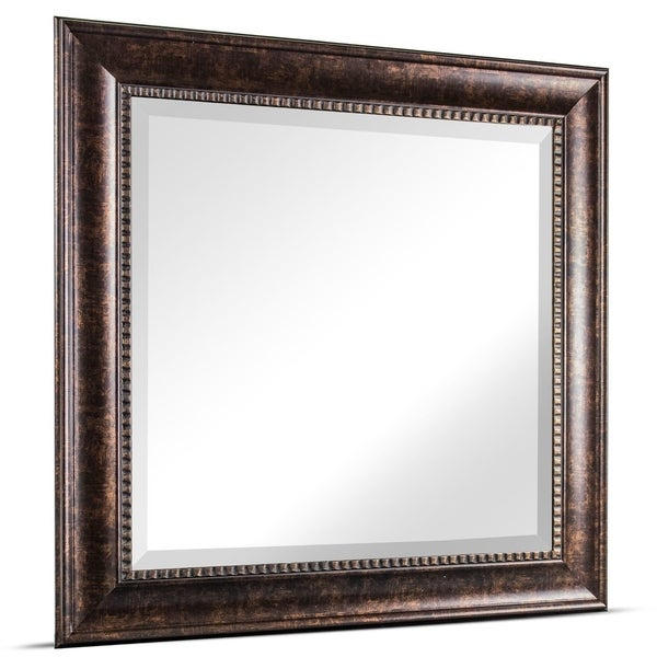American Art Decor Hartley Medium Square Oil Rubbed Bronze Textured Accent Framed Beveled Wall Vanity Mirror - Brown - A/N