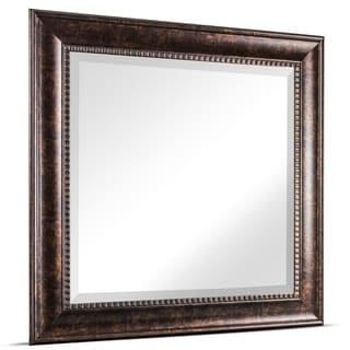 Hartley Medium Square Oil Rubbed Bronze Textured Accent Framed Beveled Wall Vanity Mirror