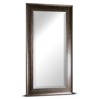 Abby Large Rectangular Smoke Grey Textured Accent Framed Beveled Wall Vanity Mirror