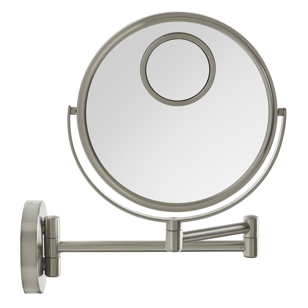 Elizabeth Arden 1x/8x/10X Magnification Wall-Mounted Makeup Vanity Mirror w/ Brushed Nickel Finish