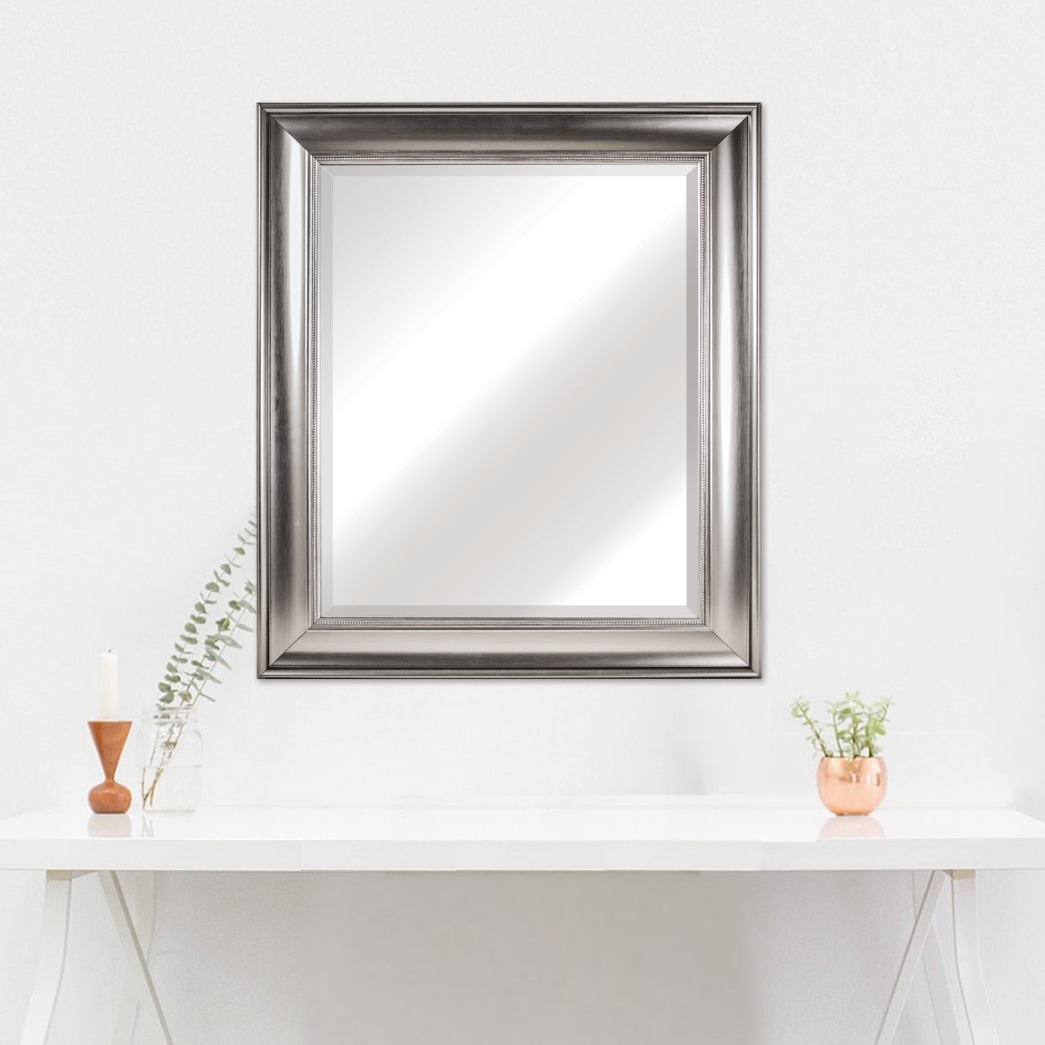 American Art Decor Clarence Medium Rectangular Silver Textured Accent Framed Beveled Wall Vanity Mirror A On Sale Overstock 16565270