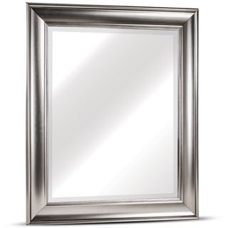 Clarence Medium Rectangular Silver Textured Accent Framed Beveled Wall Vanity Mirror