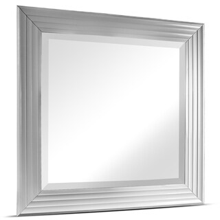 Everett Medium Square Glossy White Framed Beveled Wall/ Vanity Mirror