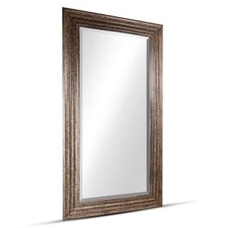 Everett Large Rectangular Golden Espresso Framed Beveled Wall/ Vanity Mirror