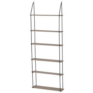 Harlan Black Iron/Brown Wood 25.5-inch x 7-inch x 70-inch 6-tier Hanging Shelf