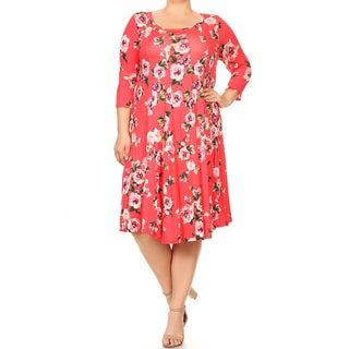 Women's Plus Size Floral Pattern Paneled Detail Dress